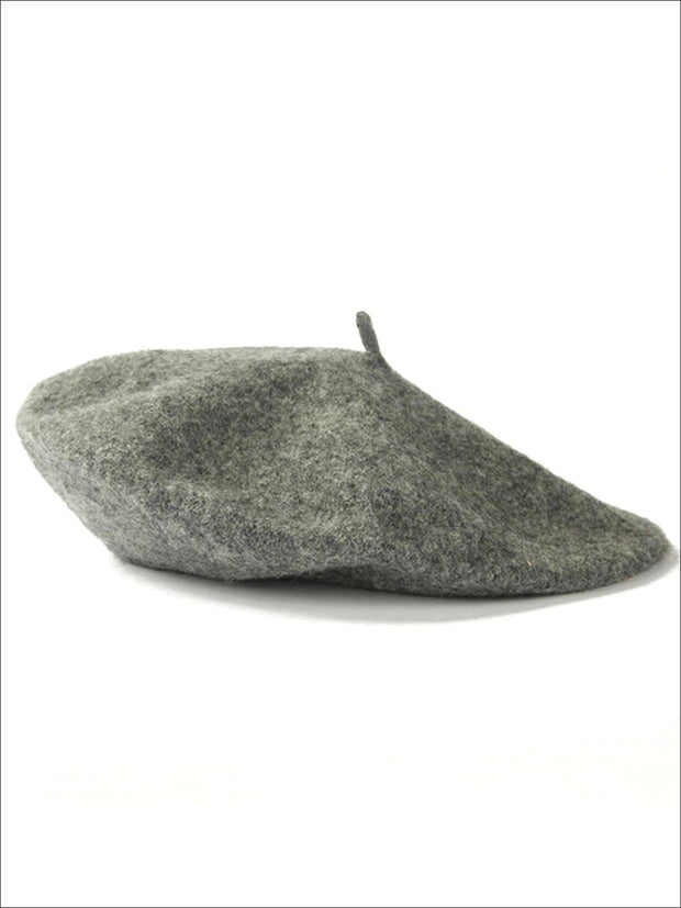 Womens Solid Color Wool Beret (Multiple Color Options) - Grey - Womens Hats