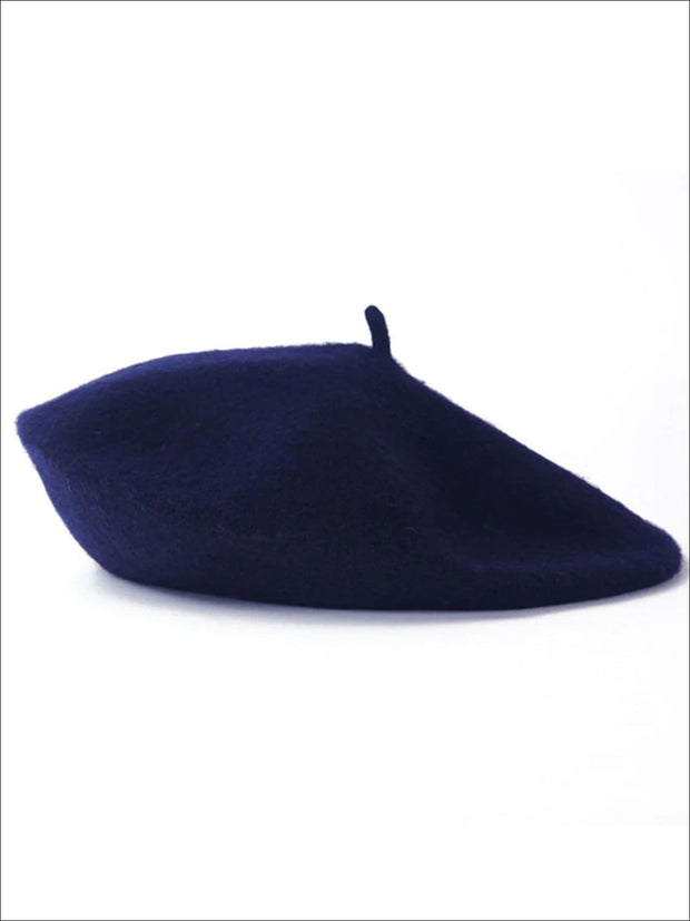 Womens Solid Color Wool Beret (Multiple Color Options) - Navy - Womens Hats