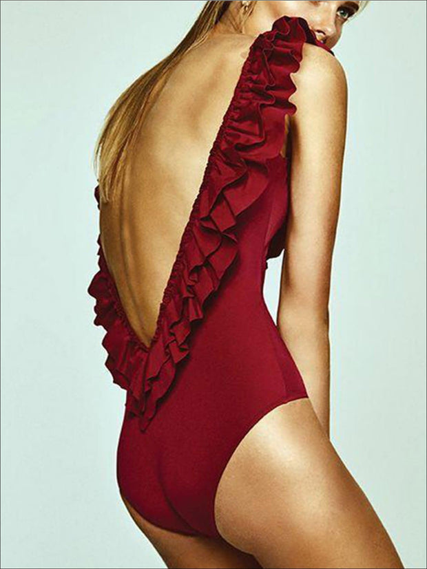 Womens Solid Double Ruffle V-Back One Piece Swimsuit - Womens Swimsuit