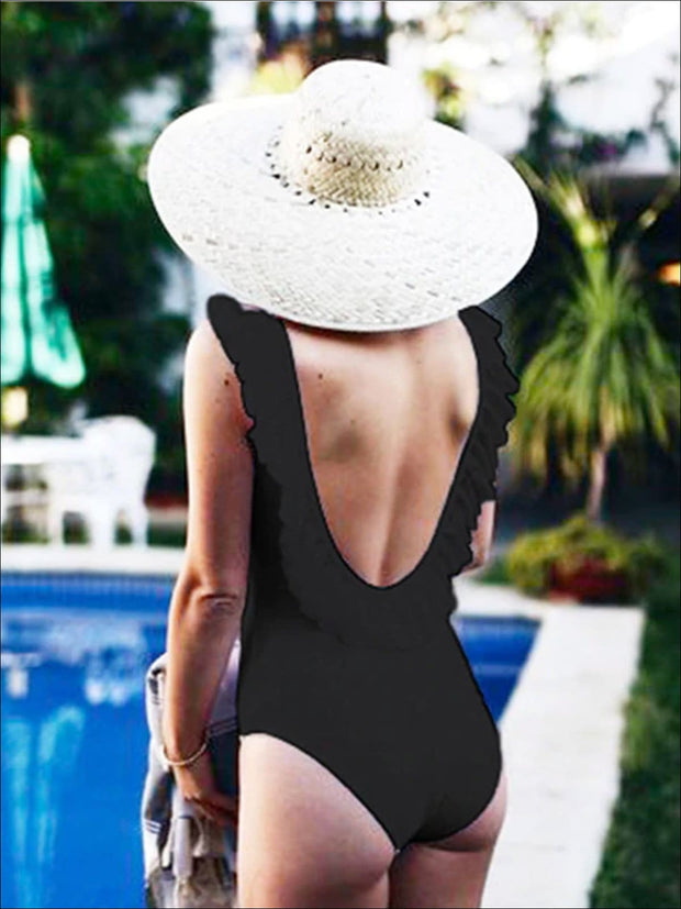 Womens Solid Double Ruffle V-Back One Piece Swimsuit - Black / S - Womens Swimsuit