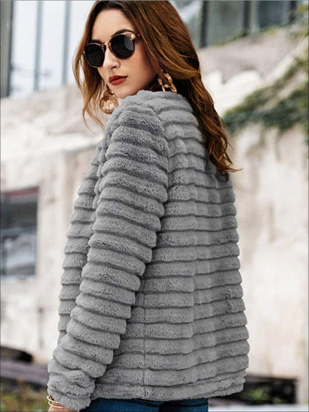 Womens Solid Grey Wrap Faux Fur Coat - Womens Fall Outerwear