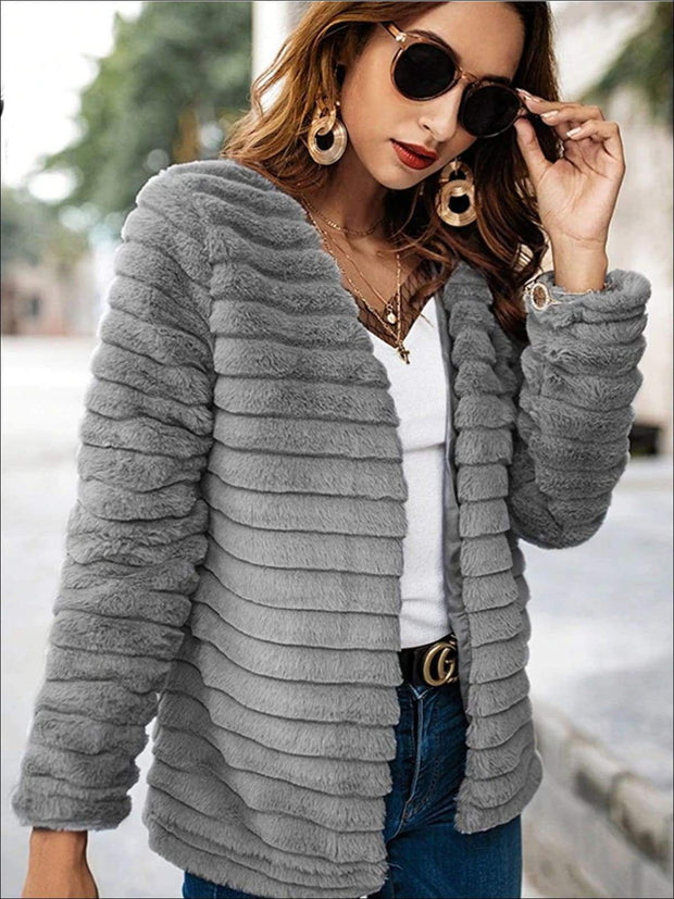 Womens Solid Grey Wrap Faux Fur Coat - Gray / S - Womens Fall Outerwear