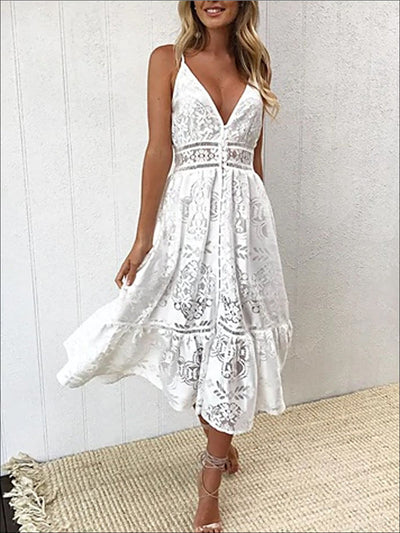 Womens Spring A-Line Lace Casual Dress - Womens Dresses