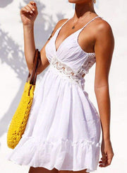 Womens Spring Crochet Ruffled Backless Dress - Womens Dresses