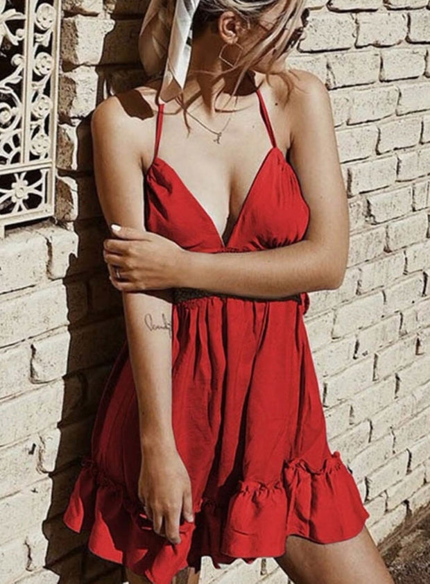 Womens Spring Crochet Ruffled Backless Dress - Red / L - Womens Dresses