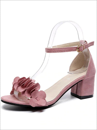 Womens Spring Flower Embellished Block Heel Sandals - Pink / 4.5 - Womens Sandals