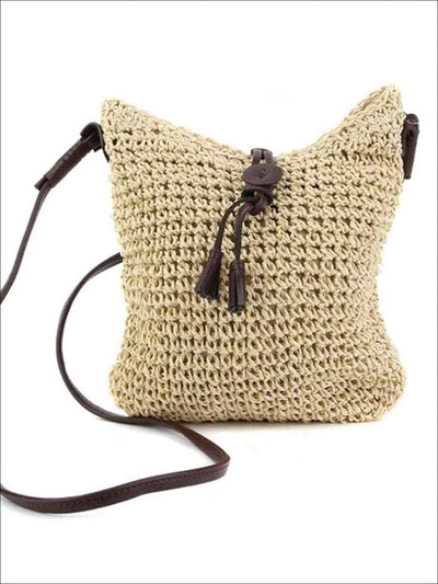 Womens Spring Woven Casual Shoulderbag - Beige - Womens Accessories