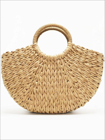 Womens Spring Woven Straw Bag - brown - Womens Accessories