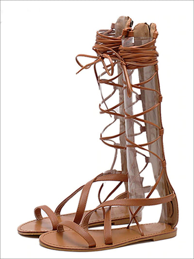 Womens Strappy Knee High Gladiator Sandals - Womens Sandals