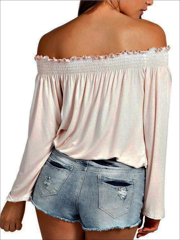 Womens Stretchy Off Shoulder Tunic - Womens Tops