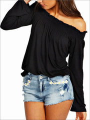 Womens Stretchy Off Shoulder Tunic - Black / S - Womens Tops