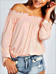 Womens Stretchy Off Shoulder Tunic - Pink / S - Womens Tops