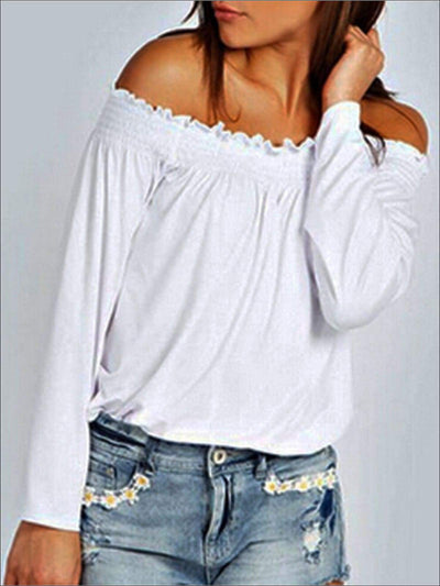 Womens Stretchy Off Shoulder Tunic - OffWhite / S - Womens Tops