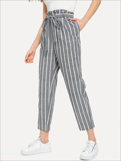 Womens Striped Belted Tapered Pants - Grey / XS - Womens Bottoms