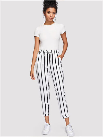 Womens Striped Drawstring Waist Tapered Pants With Folded Hem Detail - Womens Bottoms