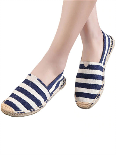 Womens Striped Espadrille Slip On Shoes - Blue / 6 - Womens Shoes