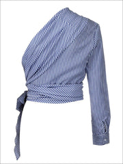 Womens Striped Long Sleeve One Shoulder Wrap Blouse - Womens Tops