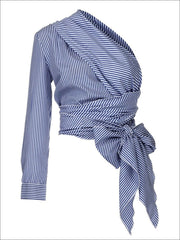 Womens Striped Long Sleeve One Shoulder Wrap Blouse - Blue / S - Womens Tops