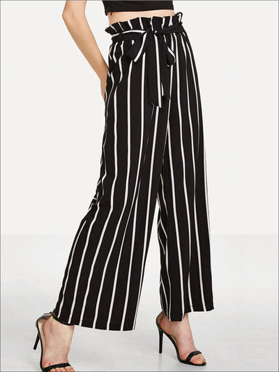 Womens Striped Ruffled High Waist Pants - Black / XS - Womens Bottoms