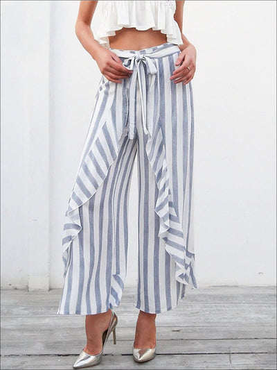 Womens Striped Side Slit Ruffled Palazzo Pants - Womens Bottoms