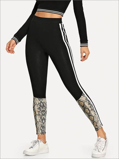 Womens Striped Side Snake Print Casual Leggings - Black / XS - Womens Bottoms