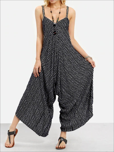 Womens Striped Sleeveless Back Tied Plus Size Jumpsuit - Black / S - Womens Jumpsuits