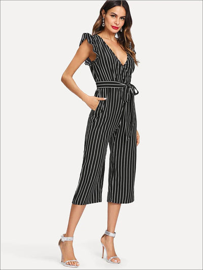 Womens Striped Tie Waist V Neck Culotte Jumpsuit With Ruffle Detail - Womens Jumpsuits