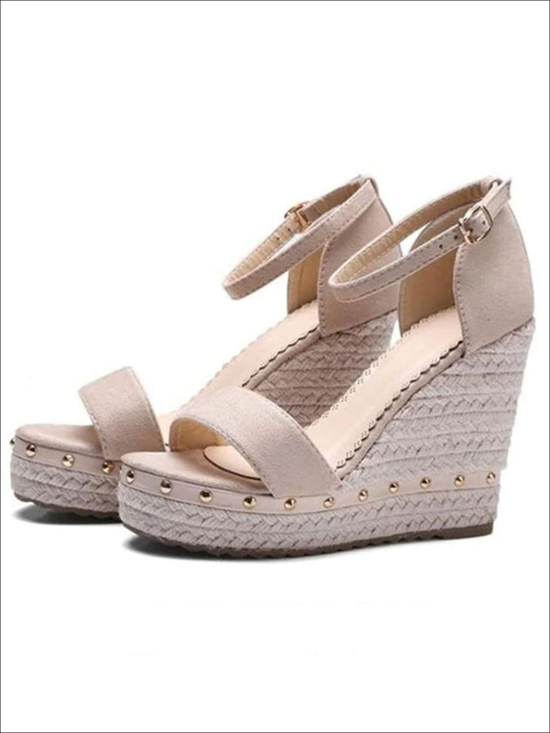 Womens Studded High Heel Ankle Strap Wedges - Womens Sandals