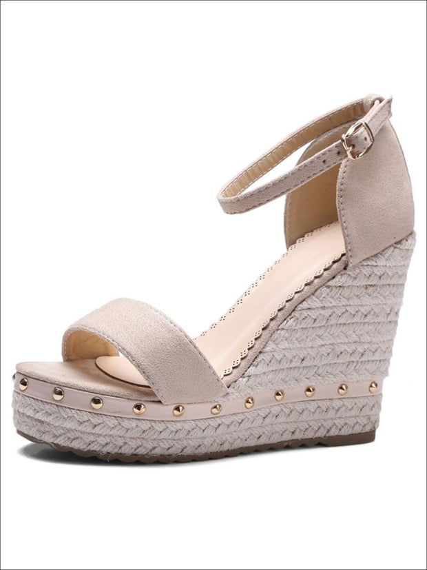 Womens Studded High Heel Ankle Strap Wedges - Beige / 4.5 - Womens Sandals