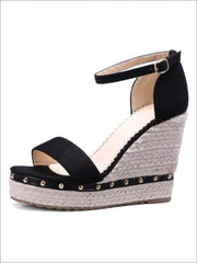 Womens Studded High Heel Ankle Strap Wedges - Black / 4.5 - Womens Sandals