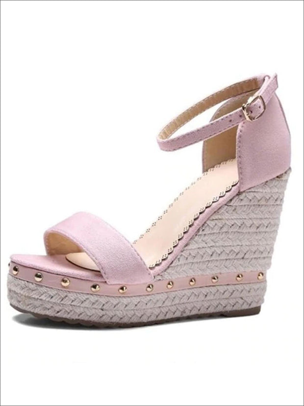 Womens Studded High Heel Ankle Strap Wedges - Pink / 4.5 - Womens Sandals