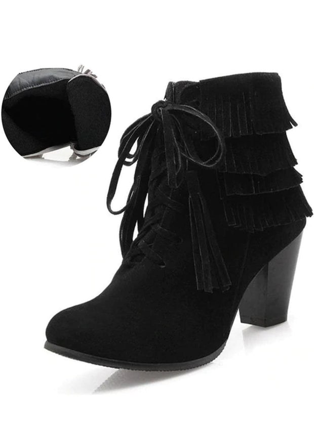 Womens Suede Lace Up Ankle Boots - Black / 3 - Womens Boots