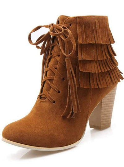 Womens Suede Lace Up Ankle Boots - Brown / 3 - Womens Boots