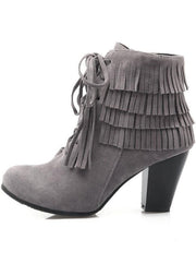 Womens Suede Lace Up Ankle Boots - Grey / 3 - Womens Boots