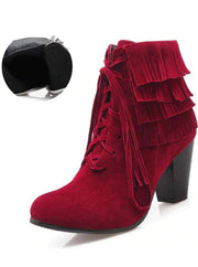 Womens Suede Lace Up Ankle Boots - Red / 3 - Womens Boots