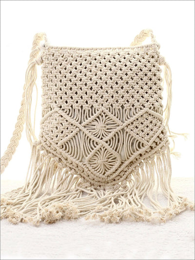 Womens Summer Fringe Boho Fashion Bag - White - Womens Accessories