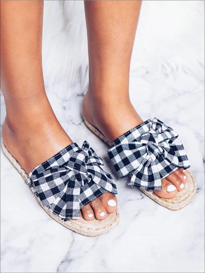 Womens Summer Gingham Bow Tie Sandals - Womens Sandals