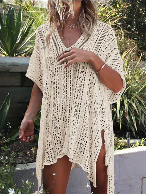 Womens Summer Knit Tassel Side Slit Beach Cover-Up - Womens Swimsuit