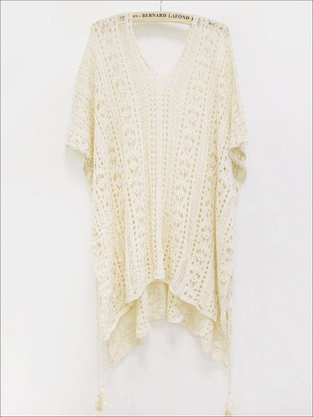 Womens Summer Knit Tassel Side Slit Beach Cover-Up - Beige / One Size - Womens Swimsuit