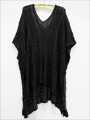 Womens Summer Knit Tassel Side Slit Beach Cover-Up - Black / One Size - Womens Swimsuit