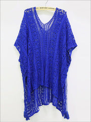 Womens Summer Knit Tassel Side Slit Beach Cover-Up - Blue / One Size - Womens Swimsuit