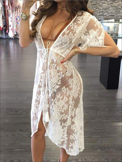 Womens Summer Long Lace Cover-Up - White / L - Womens Swimsuit