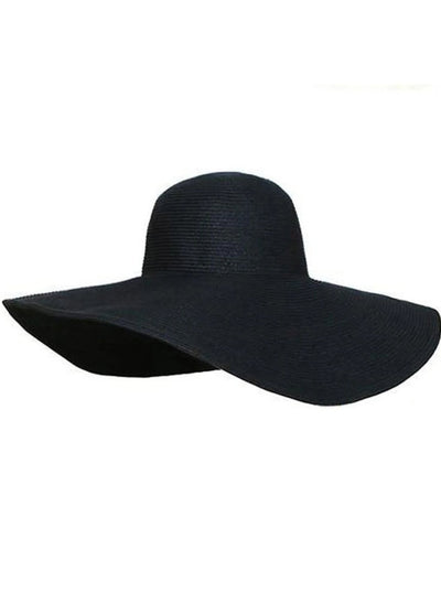 Womens Summer Wide Brim Oversized Straw Hat - Black - Womens Accessories