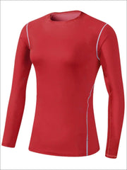 Womens Sweat-Wicking Long Sleeve Active Top - Red / S - Womens Activewear