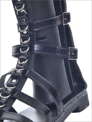 Womens Synthetic Leather Metal Ring Gladiator Sandals - Womens Sandals