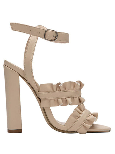 Womens Synthetic Leather Ruffled High Heel Sandals - Beige / 6.5 - Womens Sandals