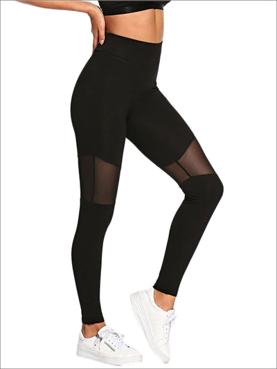 Womens Thigh Mesh Casual Leggings - Womens Bottoms