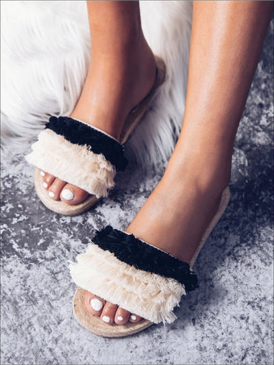 Womens Tiered Fringe Slip On Sandals With Pompom Detail - Womens Sandals