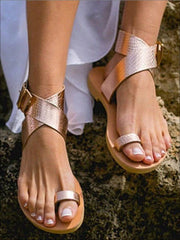 Womens Toe Ring Buckle Strap Greek Sandals - Womens Sandals