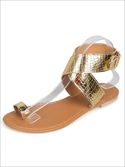 Womens Toe Ring Buckle Strap Greek Sandals - Gold / 4 - Womens Sandals